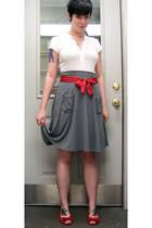 top - skirt - belt - shoes