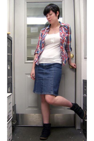 H&M shirt - forever 21 shirt - H&M skirt - Blowfish shoes