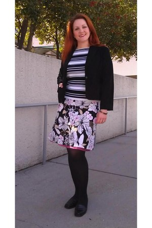 black JCP blazer - black Target tights - black stripes Joseph A sweatshirt