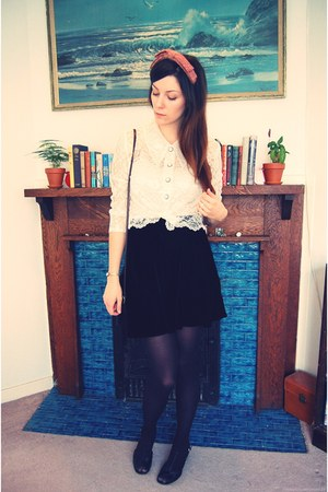 lace thrifted vintage blouse - velvet thrifted vintage skirt