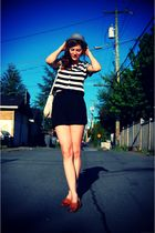 brown thrifted shoes - black thrifted shorts - black vintage from The Fair blous