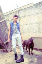 Zara pants - boots - blue shirt