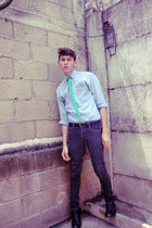 gray jeans - blue thrifted shirt - green Ralph Lauren tie - black Zara shoes - b