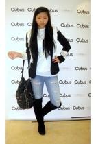 Vintage from 80s blouse - H&M blazer - Cubus jeans - Cubus vest - Skopunkten boo