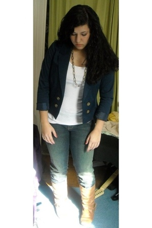 H&M blazer - Delias jeans - Hanes top - forever 21 necklace - Steve Madden boots