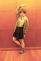 green top - heather gray wool Zara cardigan - black Zara skirt - blue Lime loafe
