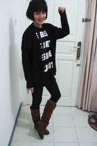 black shirt - black cardigan - black leggings - brown boots - brown necklace - w