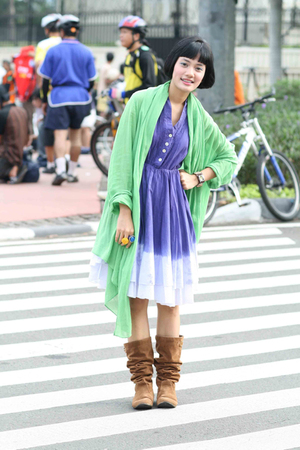 blue from shz dress - brown from online shopping blouse - green Zara jacket
