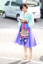 orange wool bag - violet vintage skirt - aquamarine Zara top