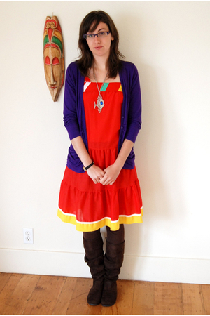 vintage dress - Nordstrom sweater - Steve Madden boots - vintage necklace