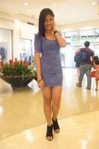 purple Topshop dress - black shoes