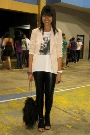 white Topshop top - black leggings - black shoes - beige thrifted blazer - black