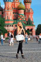 black Zara leggings - black Massimo Dutti top - white balenciaga purse