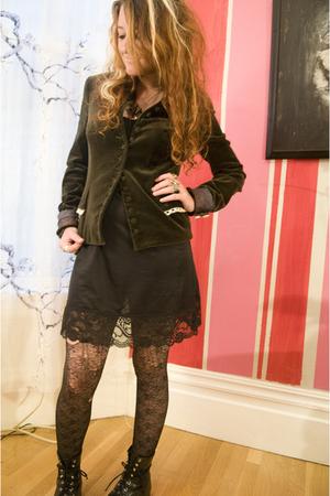 rusty cuts jacket - dress - tights - Justin boots