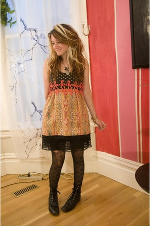 rusty cuts dress - tights - Justin boots