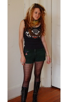 Anne Klein scarf - hearley davdison t-shirt - shorts - tights - boots