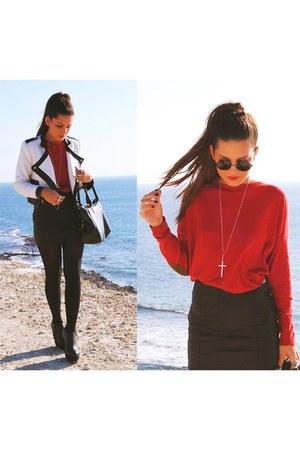 white jacket - black wedges - red blouse