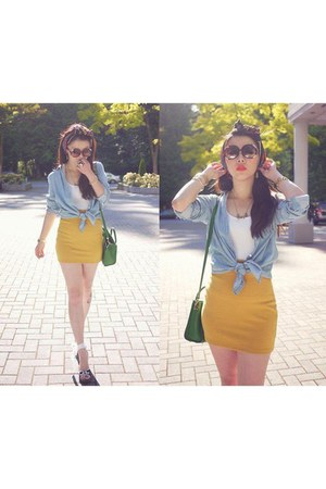 mustard skirt - sky blue shirt - white t-shirt