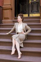 vintage suit - Christian Louboutin heels - Primark blouse