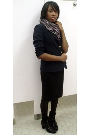 vintage blazer - conway scarf - forever 21 skirt - Nine West boots