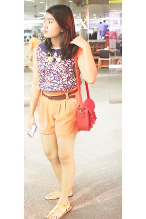 Shopaholic shorts - queen street bag - The Ramp sandals - Forever 21 top