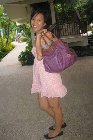purple random brand from Australia bag - pink random brand dress - black cotton
