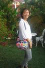 Red-le-sportsac-bag-gray-zara-pants-white-saramary-top