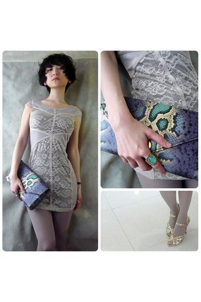 violet faux leather clutch bag bag - silver lace short dress dress
