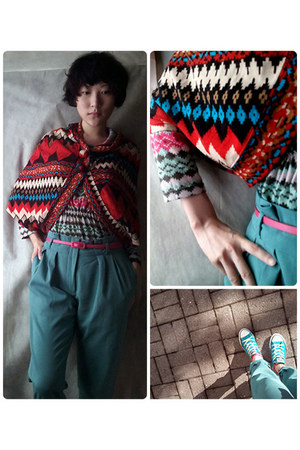 teal long length pants pants - hot pink Belt belt - aquamarine dolman top top