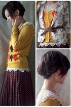 gold diamond pattern cardigan cardigan - maroon Polka Dot Print long skirt shirt