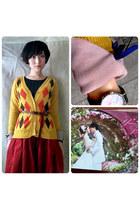 gold diamond pattern cardigan cardigan - ruby red Mid Length Skirt skirt