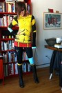 Black-cannondale-tights-yellow-comic-shop-t-shirt-black-pearl-izumi-gloves