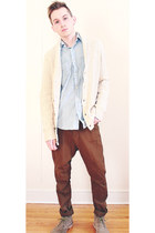 eggshell Urban Outfitters sweater - tan Guess shoes - light blue H&M shirt