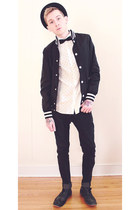 black H&M jacket - black Steve Madden shoes - black H&M jeans - white H&M shirt