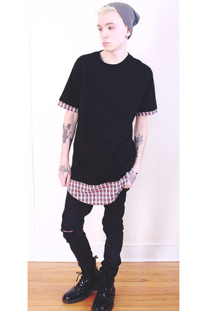 black 21 MEN shirt - black Dr Martens boots - black H&M jeans