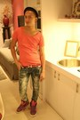 Isami-imajuku-jeans-striped-pedora-sm-hat-attitude-x-adidas-sneakers