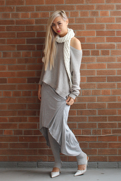 white leather leather shoes - silver metallic knit H&M sweater