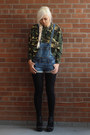 Denim-overalls-dollhouse-shorts-cotton-camo-old-sweatshirt