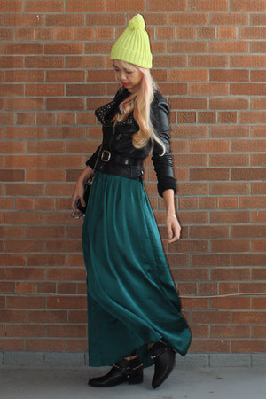 dark green maxi skirt Sandro Studio skirt - lime green lime green Joe Fresh hat