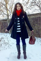navy leggings - black military coat - sweater - ruby red scarf