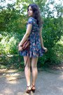 Gray-floral-ruffled-dress-burnt-orange-purse-brick-red-sunglasses-brown-bu