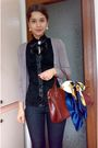 Black-blouse-brown-cardigan-blue-jeans-brown-purse-scarf-silver