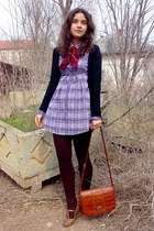 light purple dress - dark brown striped tights - brick red scarf