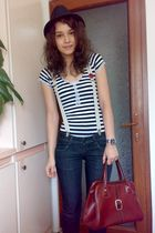 red shoes - blue rolled up jeans - black shirt - brown vintage bag - brown