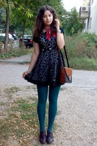 black lace dress - teal tights - ruby red scarf