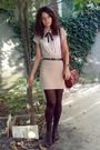 White-amisu-shirt-beige-pimkie-skirt-brown-tights-blue-belt-brown-marc-c