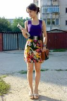 brown belt - brown Pigeon purse - gold trifted skirt - purple Atmosphere top