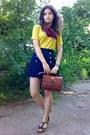 Navy-shorts-crimson-thrifted-floral-scarf-brick-red-vintage-m-chantal-purse
