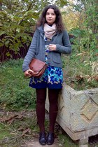 charcoal gray cardigan - navy dress - dark brown tights - camel scarf