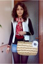 brown blouse - white vest - blue shorts - red scarf - brown purse - brown Leonar